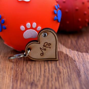 Ταυτότητα για κατοικίδιο ξύλινη καρδιά στρας