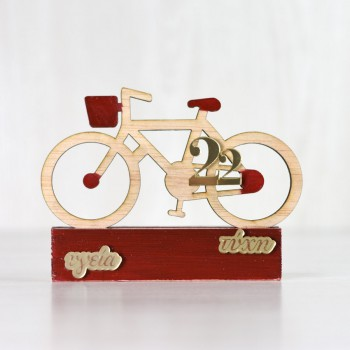 Wooden table charm 22 red bicycle