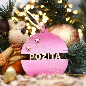 Ξύλινη Χριστουγεννιάτικη μπάλα Satin Pink
