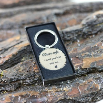 Round keychain with leatherette and drive safe engraving gift for couples