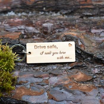Ξύλινο μπρελόκ Drive Safe