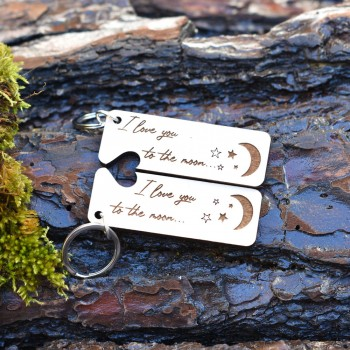 wooden keychain for couples