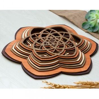 Ξύλινο διακοσμητικό Mandala 9επιπ.
