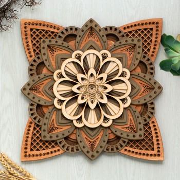Ξύλινο διακοσμητικό Mandala 12επιπ.