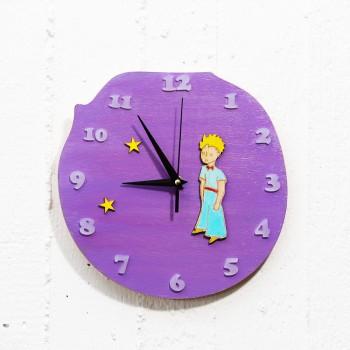Wooden clock little prince purple