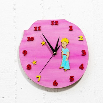 Wooden clock little prince pink