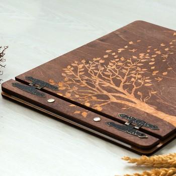Ξύλινο βιβλίο ευχών καφέ Δέντρο ζωής